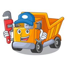 Plumber character truck dump on trash construction vector