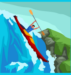 rafting man in red boat vector image