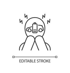 Range anxiety linear icon vector