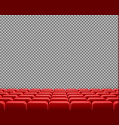 Realistic rows of red empty cinema chairs vector