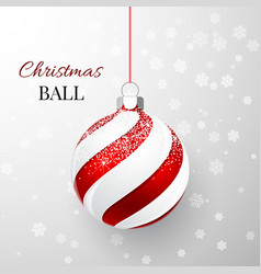 red christmas ball with snow effect xmas glass vector image
