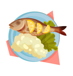 Rice and fish served on flat plate with lettuce vector