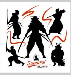 Samurai warriors - set silhouettes vector