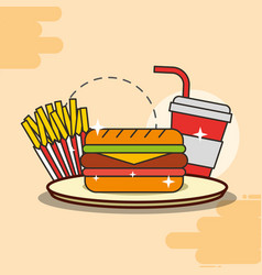 Sandwich french fries and soda fast food vector