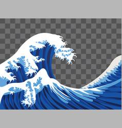 Sea wave japan paint style vector