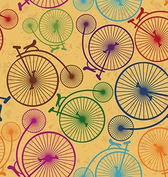 Seamless pattern of retro bicycles vector image