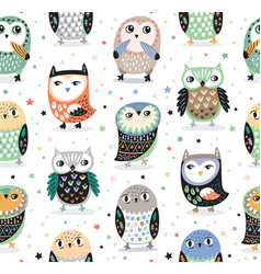 Seamless pattern with cartoon owls nursery vector
