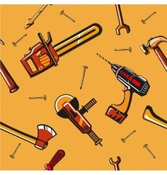 Seamless pattern with construction tools vector