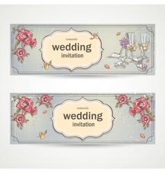 set horizontal banners wedding invitations vector image