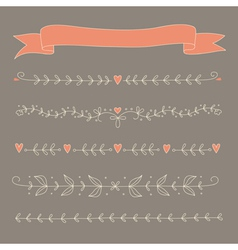 Set of hand drawn floral elements vector