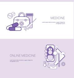 set of online medicine banners business concept vector image