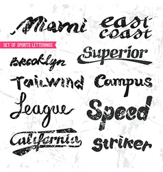Set of sports letterings vector image