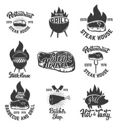 Set of steak house emblems grilled meat vector