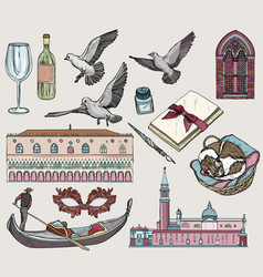 Set of venice colored sketch vector