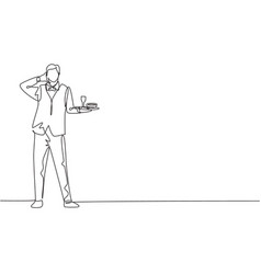 Single continuous line drawing waiter stood up vector
