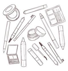 sketch set makeup products vector image