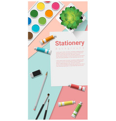 Stationery scene mock up with art supplies vector