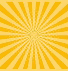 sunburst background yellow rays with halftone vector image