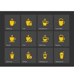 Tea mug and Coffee cup icons vector