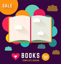 Template with open book vector