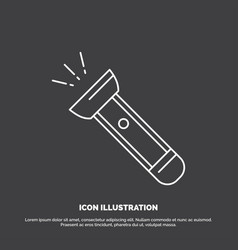 Torch light flash camping hiking icon line symbol vector