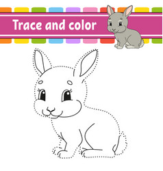 Trace and color rabbit bunny animal coloring page vector
