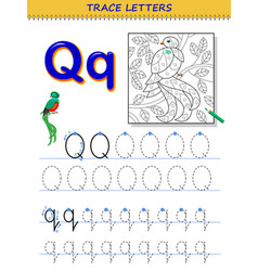 Tracing letter q for study alphabet printable vector