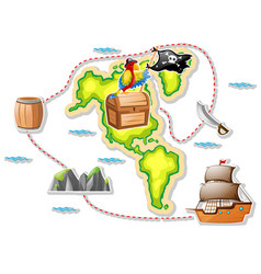 Treasure map and pirate ship vector