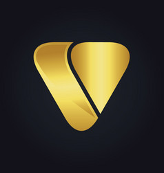 Triangle shape letter v gold logo vector