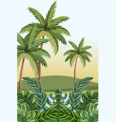 tropical jungle cartoon vector image