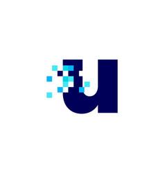 U letter lowercase pixel mark digital 8 bit logo vector