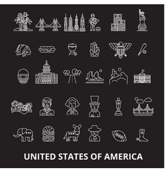usa editable line icons set on black vector image