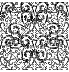 vintage floral greek seamless pattern black and vector image