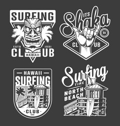 vintage monochrome surfing club labels vector image