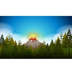 Volcano eruption scene at daytime vector image
