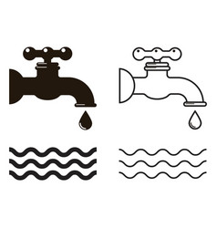 water tap icons vector image