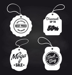 white sale label on blackboard vector image