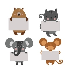 Wild animal zoo banner cartoon set vector image