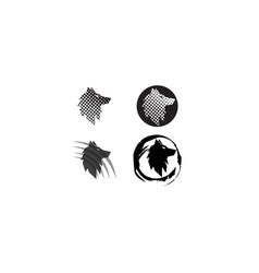 Wolf head in a circle effect and claws logo vector