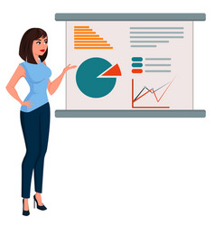 Young cartoon business woman in office clothes vector