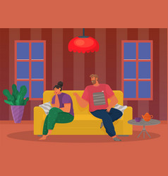Young people quarreling at home man and woman vector