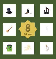 flat icon festival set of monster ghost skeleton vector image vector image