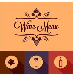 flat wine menu design elements vector image vector image