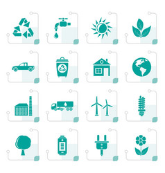 Stylized ecology and environment icons vector