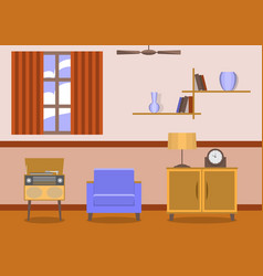 vintage style living room interior vector image vector image