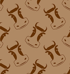Cow seamless pattern Head of bull pattern beef vector image