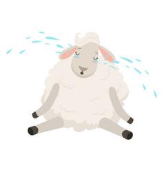 cute sad white sheep character crying funny vector image vector image