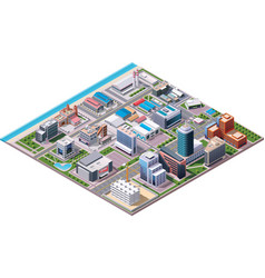 Isometric industrial and business city district ma vector image vector image