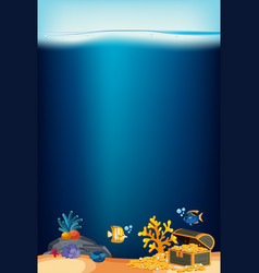 ocean background with coral and golden coins vector image
