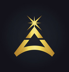 triangle star bright gold logo vector image